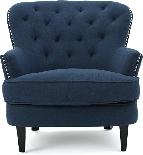 Christopher Knight Home CKH Diamond Tufted Fabric Club Chair, Dark Blue