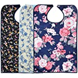 3 Pack Adult Bibs for Eating with Crumb Catcher by Celley - Washable and Reusable Clothing Protectors for Elderly Women