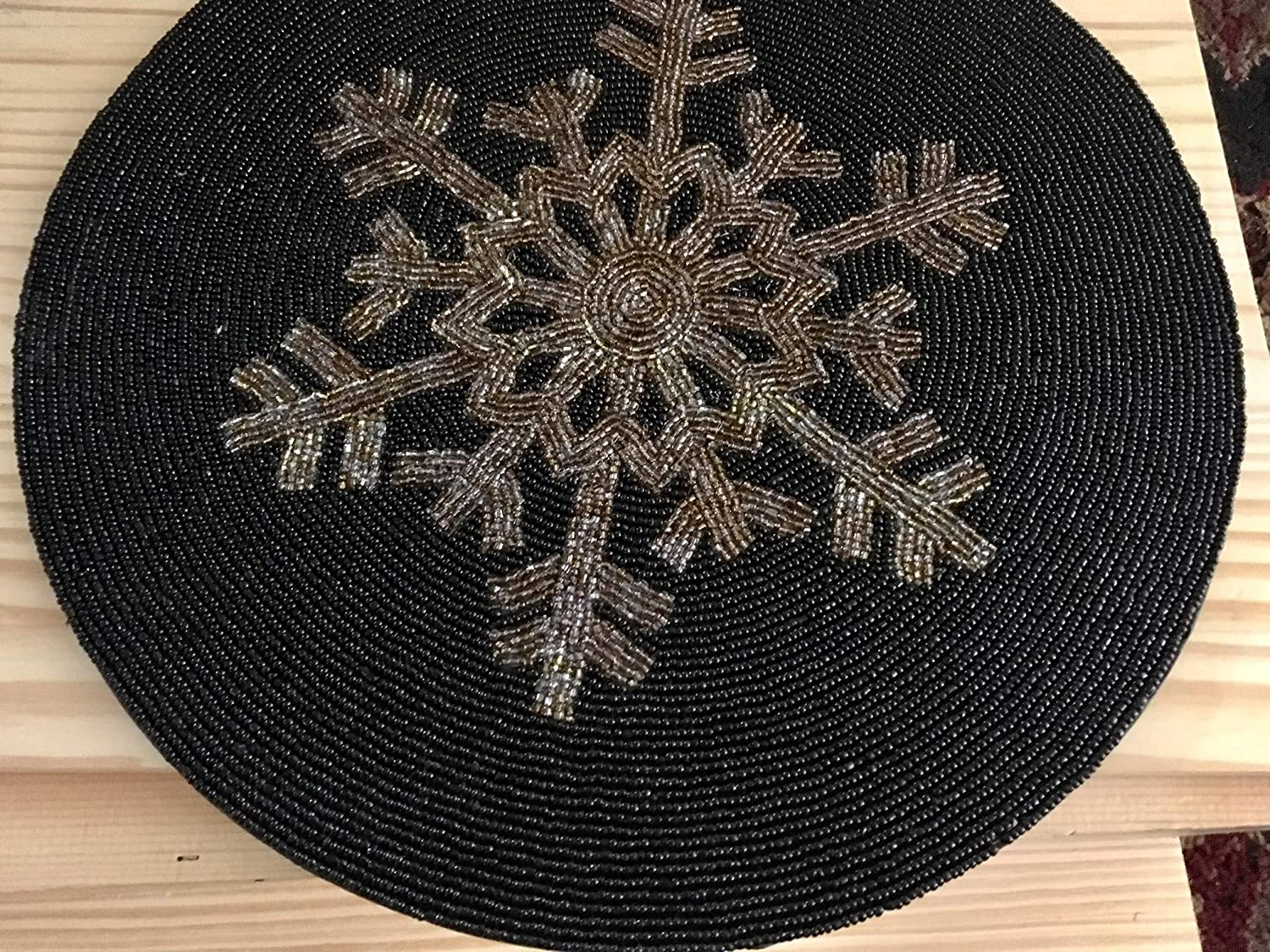 Holiday christmas gift Handmade Beaded Black and Gold Table Mat, Centre piece, Beaded, Placemat, Decorative mat, Gift for her, Housewarming gift thanksgiving dinner table