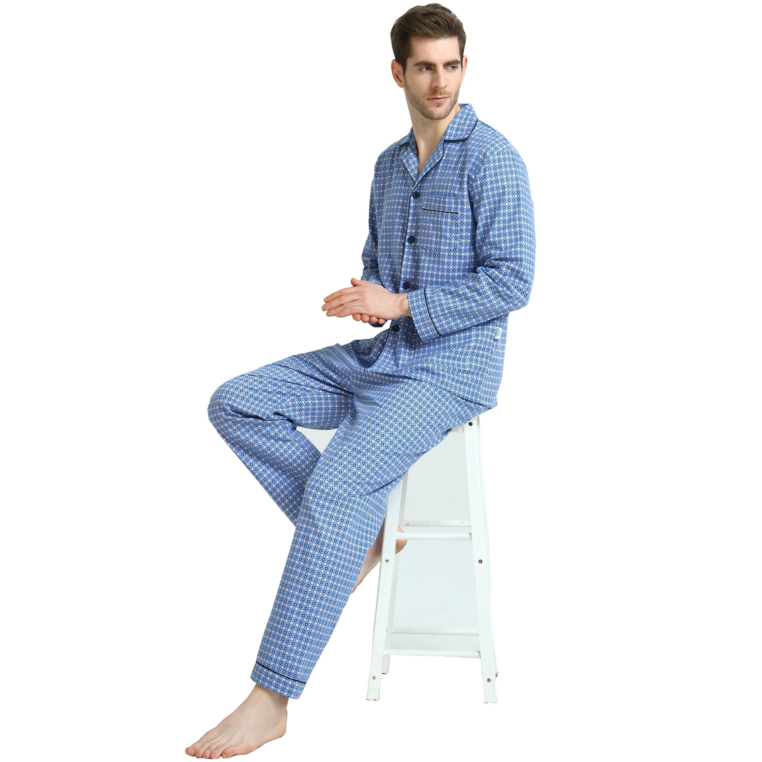 Cotton Sleepwear/Loungewear Sets for Men,100% Fleece Warm Pj Top and Bottom by GLOBAL (Image #2)