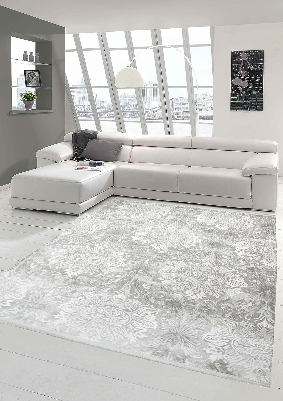 Designer Teppich Moderner Teppich Wollteppich Meliert Wohnzimmerteppich Wollteppich mit Fransen Ornament Grau Größe 200 x 290 cm