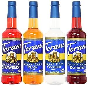 Torani Sugar Free Syrup Soda Flavors Variety Pack, 25.4 Ounces (Set of 4)