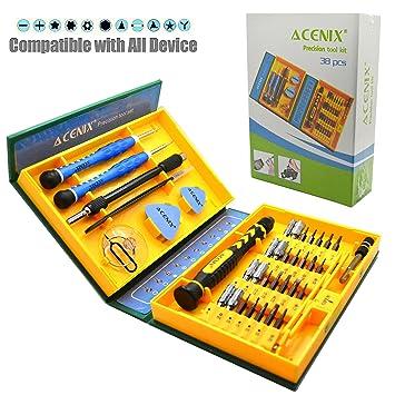 ACENIX® 38 en 1 acero para herramientas de precisión S2 material de acero de aleación conjunto destornillador magnético, kit de reparación para el ...