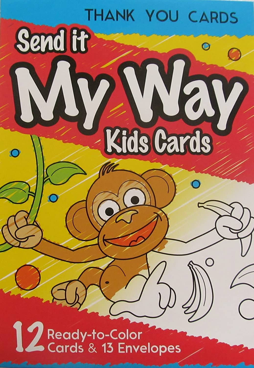 Amazon.com : SEND IT MY WAY KIDS CARDS, 12 Color-In Birthday or ...