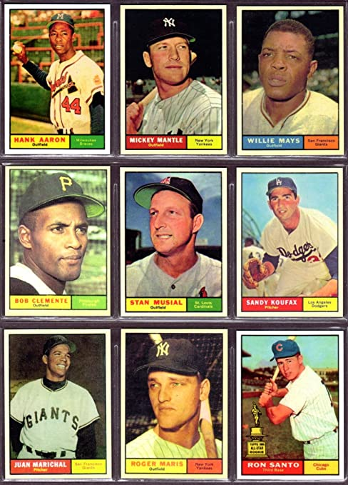 1961 Topps Baseball 9 Card Reprint Lot Hank Aaron Mickey