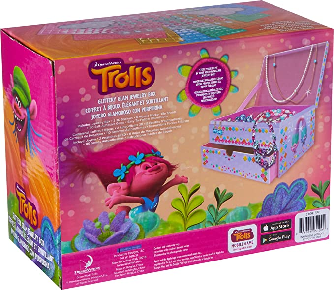 Dreamworks Trolls Jewelry Box DIY Decorate Yourself Craft Kit Bling NEW