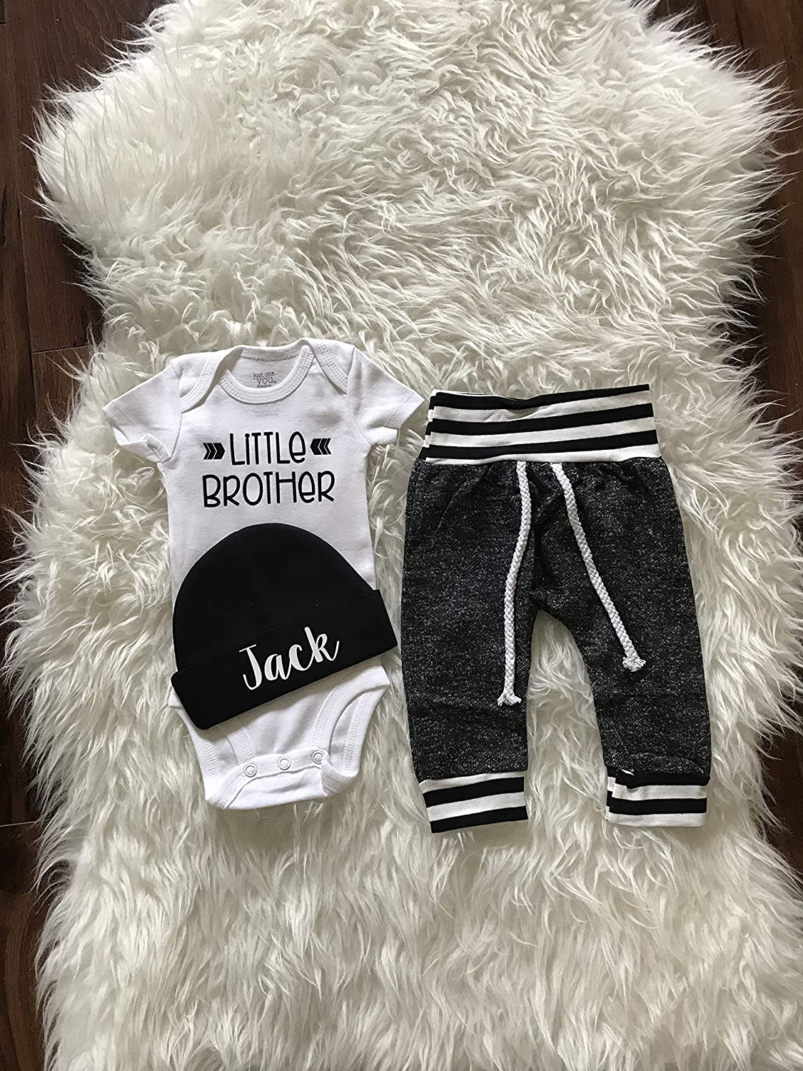 LITTLE BROTHER outfit Baby Boy Coming Home Outfit Personalized Infant Baby outfit and Hat Monogrammed Baby Boy Baby Shower Gift