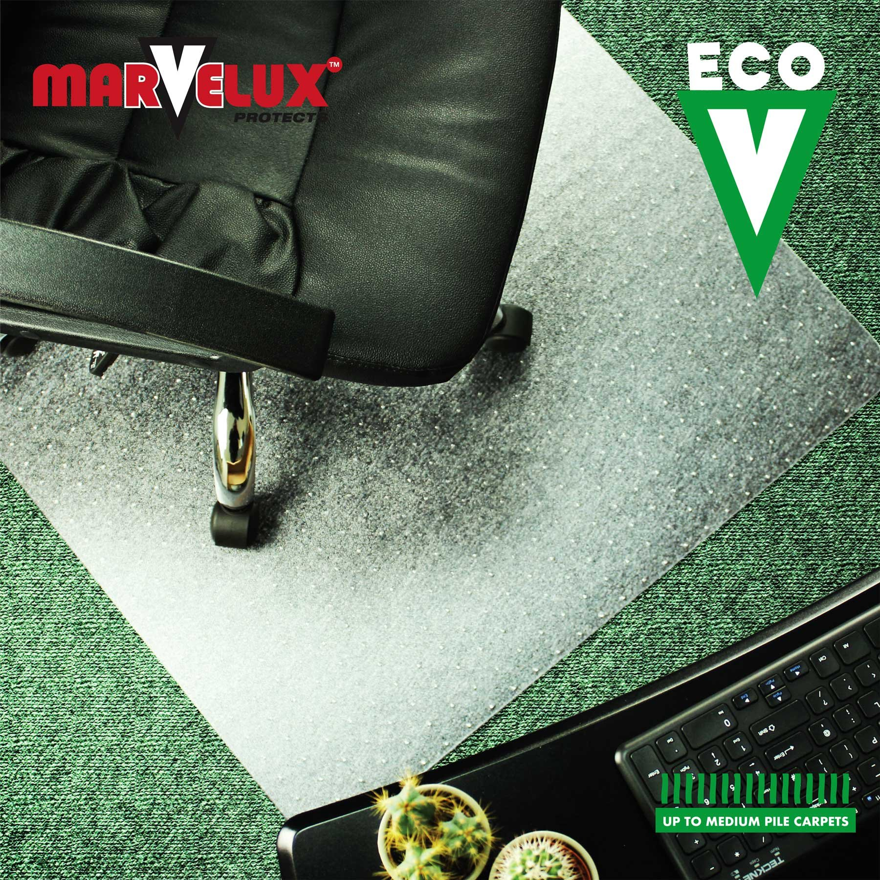 Marvelux 48'' x 60'' ECO (Enhanced Polymer) Rectangular Chair Mat for Low and Standard Pile Carpets | Transparent Carpet Protector | Multiple Sizes by Marvelux (Image #4)