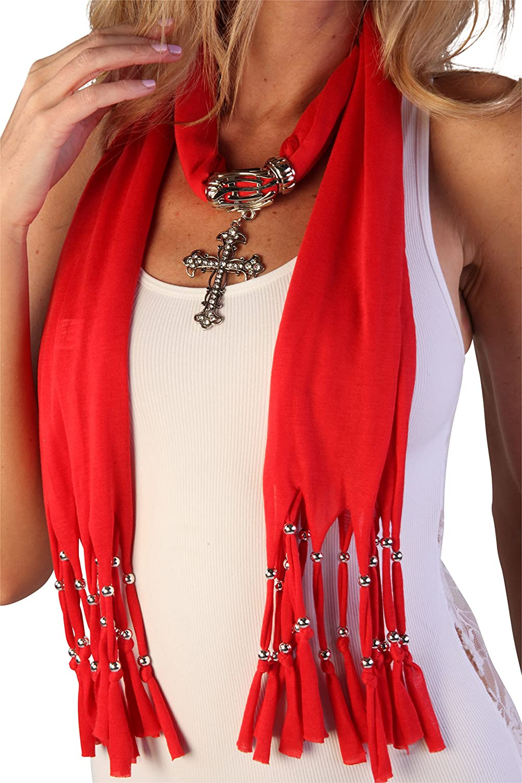 Women's Fashion Pendant Real Metal Cross Scarf