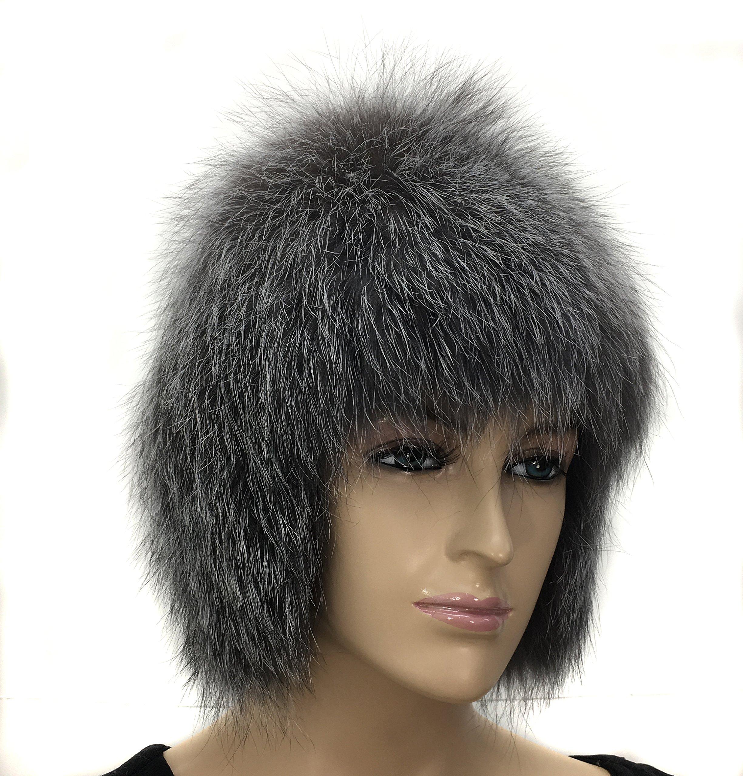 100% Silver Fox Fur Winter Hat Very Soft