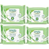 Simple Kind To Skin Cleansing Facial Wipes Bundle, Two 25-Count Plus Two 7-Count Travel Packs