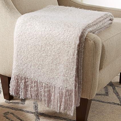 Amazoncom Stone Beam Oversized Stripe Brushed Weave Throw