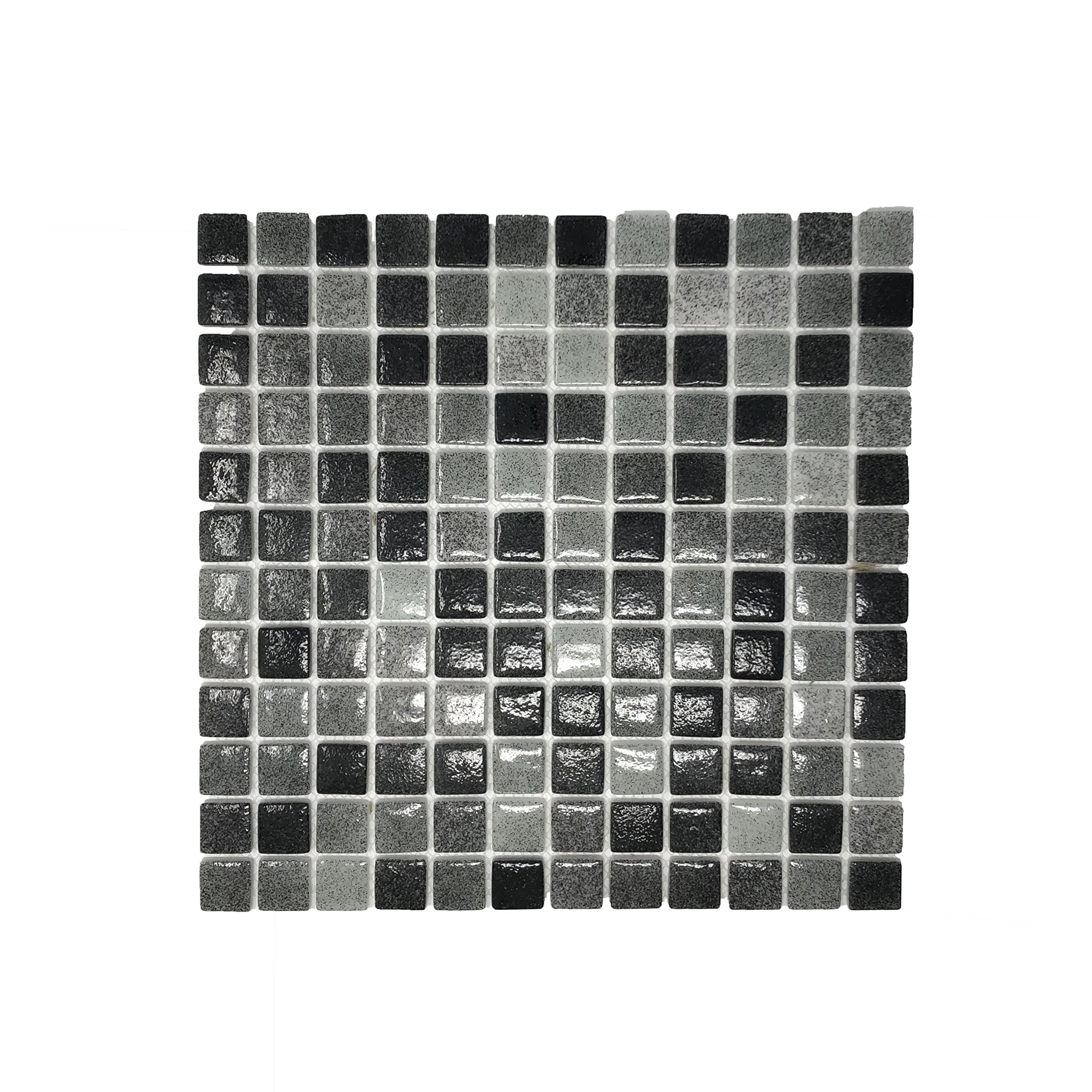 Mony Mosaic 15-Sheet Glass Mosaic for Kitchen Backsplashes, Bathroom Walls, Sauna Wall, Spa Tile, Pool Tile, Hamam Wall (Black Mix)