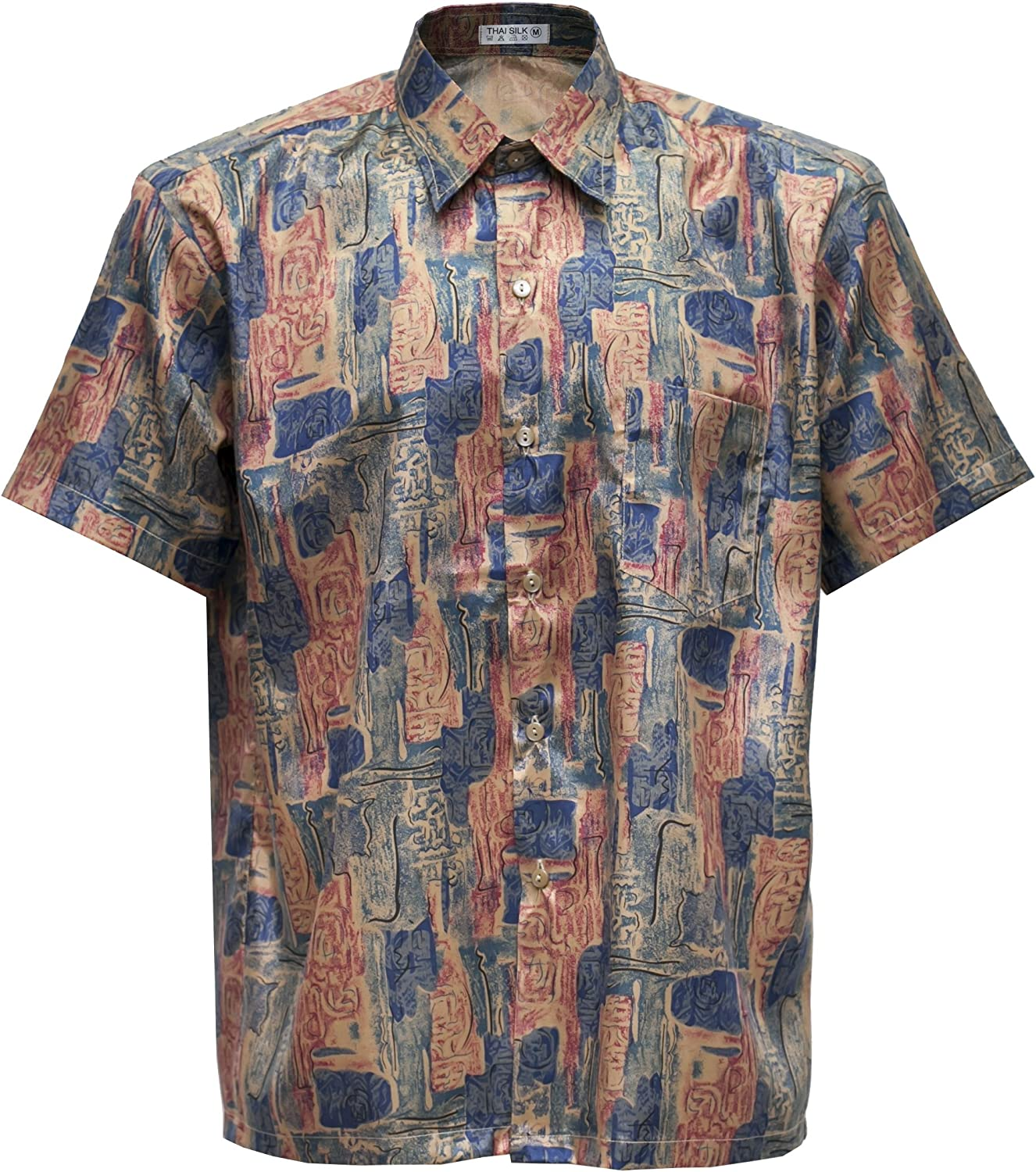 Mens Patterned Shirt Thai Silk Short Sleeve Casual Paisley Hawaiian Medium 3XL