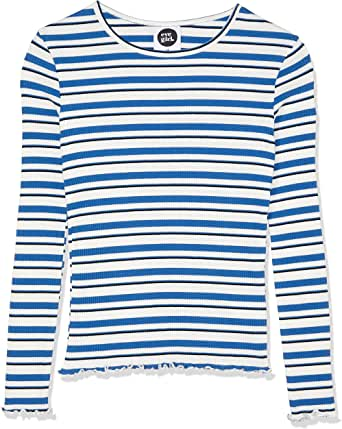Eve Girl Kids VIV L/S Rib TOP, Blue/Grey Marle/White