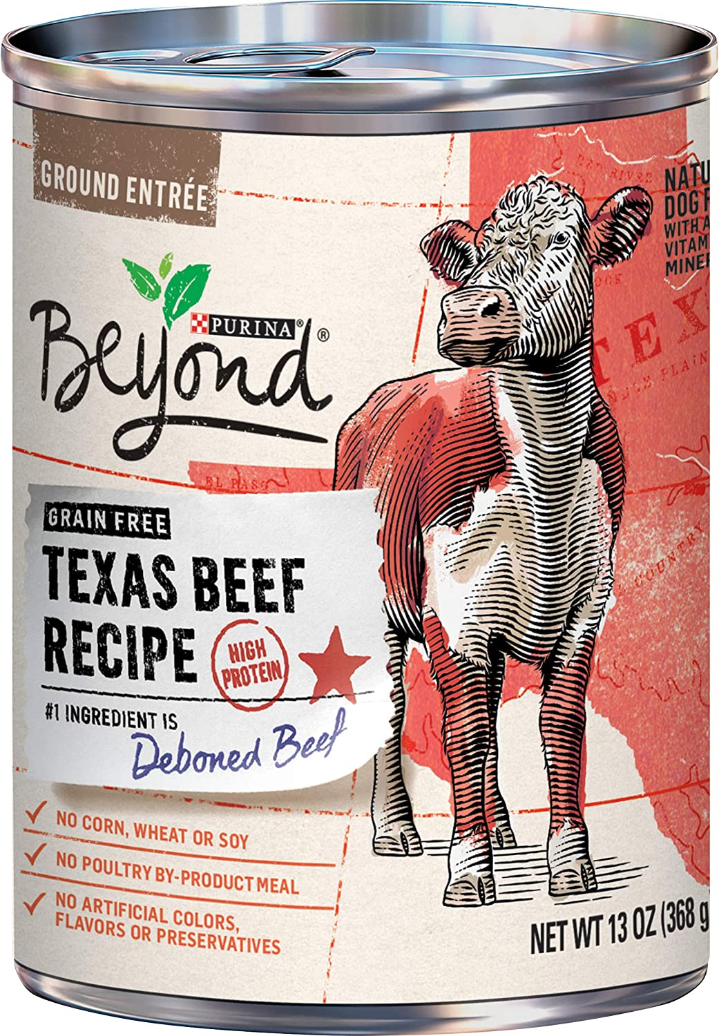 Purina Beyond Grain Free, Natural, High Protein Wet Dog Food, Texas Beef Recipe - (12) 13 oz. Cans