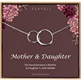 Suavell Mother Daughter Necklace. Sterling Silver Necklace for Women. Mom Gifts. 2 Circle Necklace Pendant on Dainty Necklace