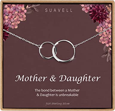 Mother Necklace Present for Mom From Daughter Mom Necklace 2 Interlocking Circles Mother Daughter Necklace Gifts for Mom .925 Silver