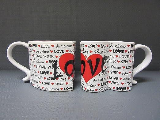 Amazon.com: Juego de 2 tazas de café con diseño de corazón ...