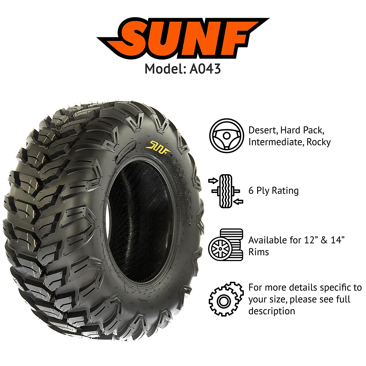 Set of 4 SunF Radial Race Replacement ALL TERRAIN ATV UTV 6 Ply Tires 26x9R12 26x9x12 Tubeless A043,