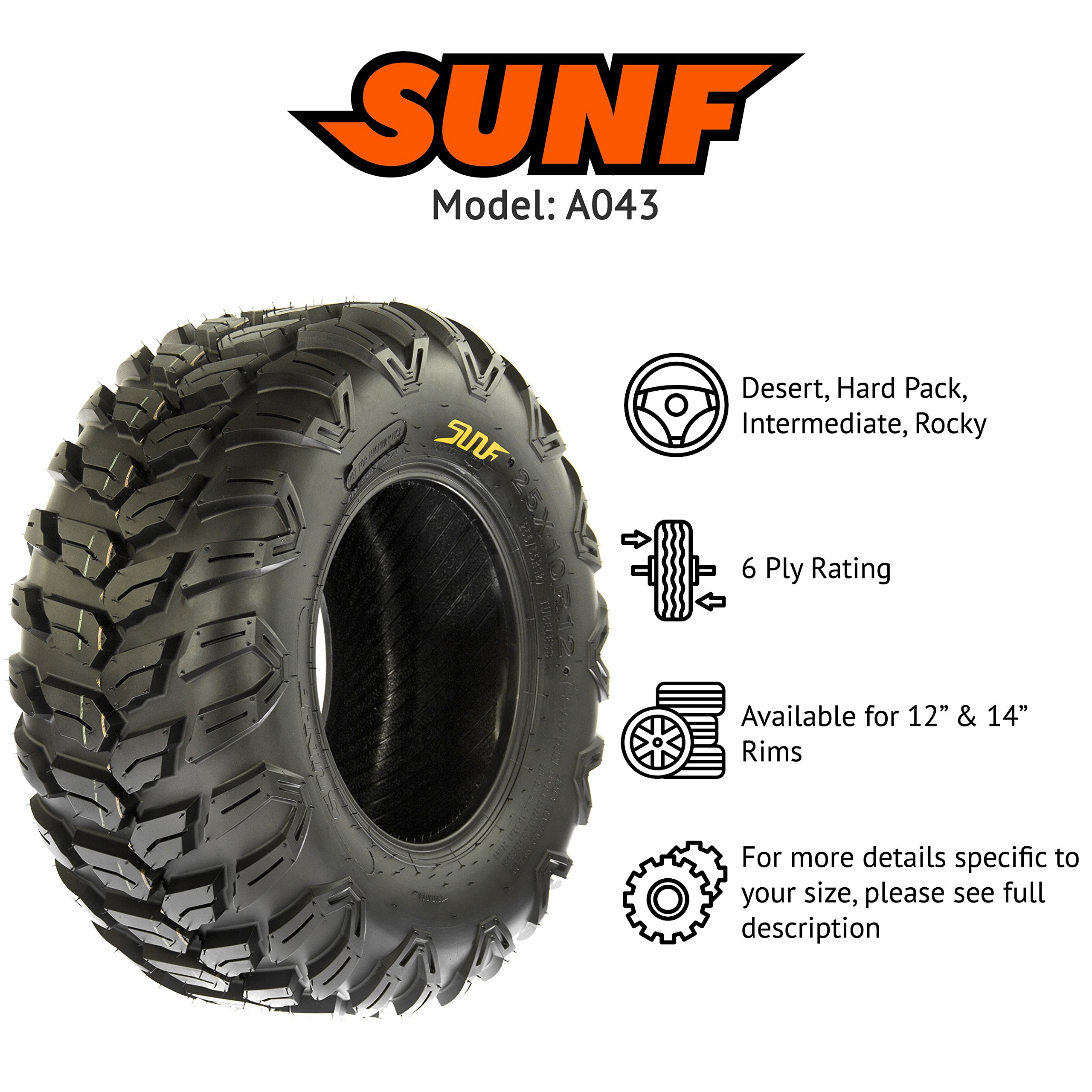 SunF A043 Sport-Performance XC ATV/UTV Off-Road RADIAL Tire - 26x11R14 (6-Ply Rated) by SunF (Image #2)