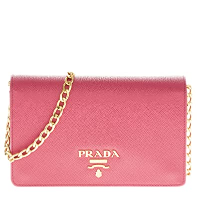 Prada Saffiano Lux Chain Crossbody Bag Pink  Handbags  Amazon.com 1ff17a05860a5