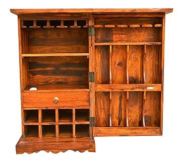 Wood Mount Sheesham Wood Wine Rack Bar Cabinet for Home | Honey Finish