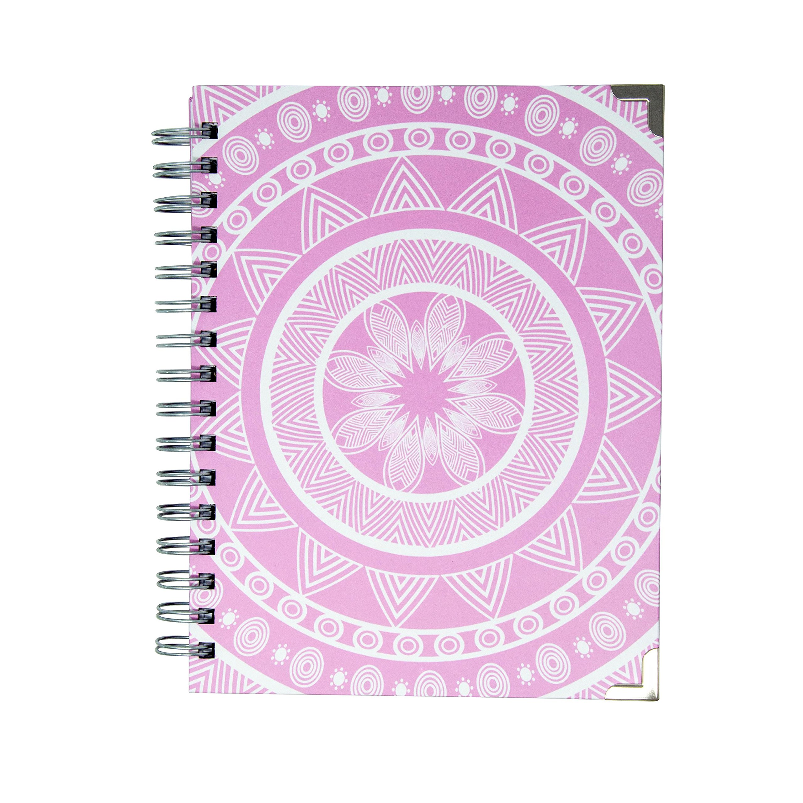Lined and Blank Pages 100gsm Spiral-Bound Hardcover Journal Notebook 6.5 x 8.5 inches Pink Mandala Diary