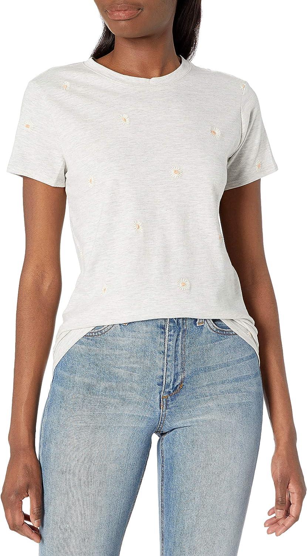 Lucky Brand Women's Short Sleeve Crew Neck Embroidered Daisy Tee