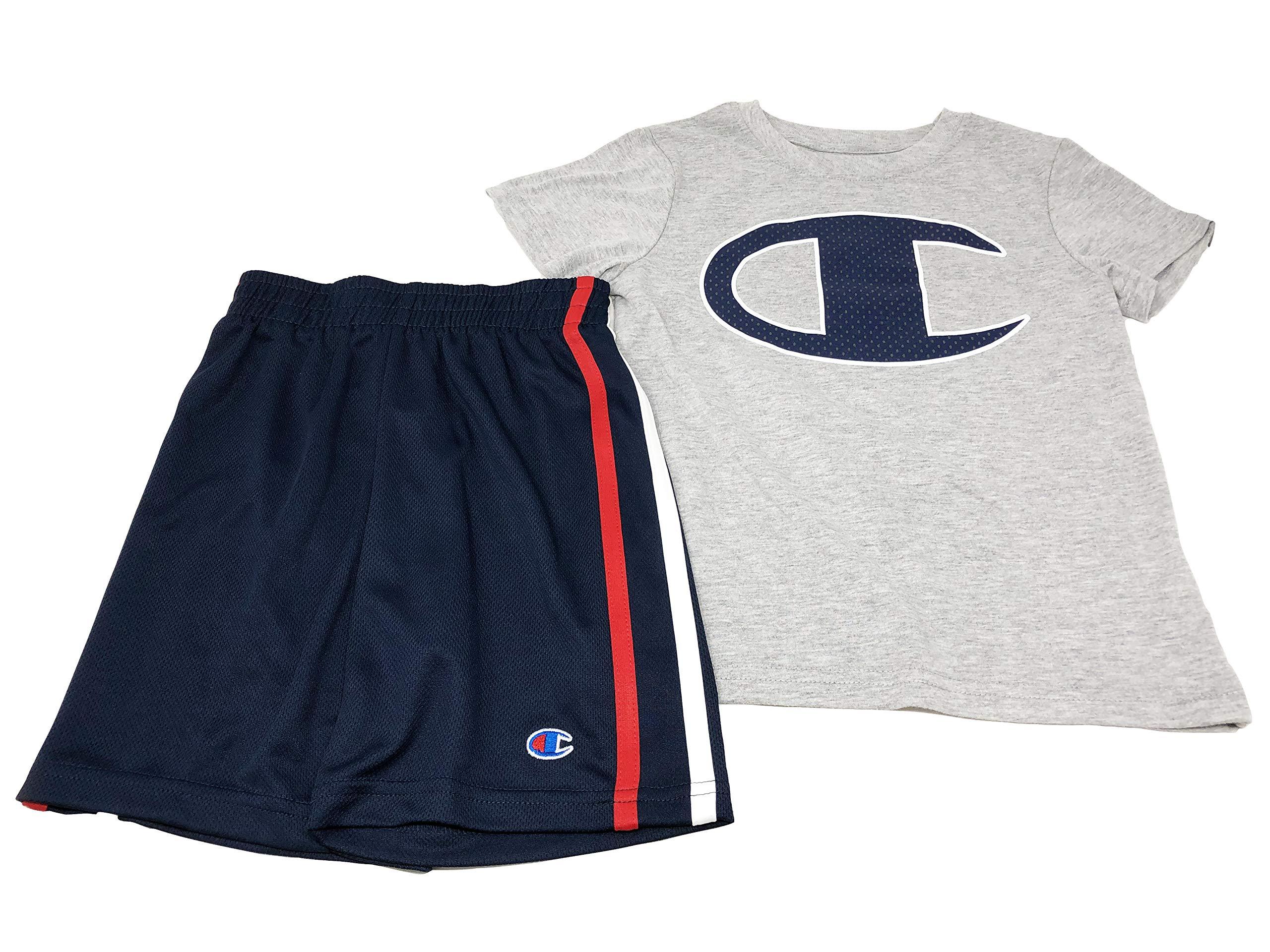 Champion T-Shirt and Shorts 2-Piece Set, Size 6, Gray/Navy