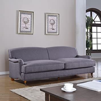 Mid Century Grey Modern Sophisticated Large Linen Fabric Sofa With Casters ( Light Grey)