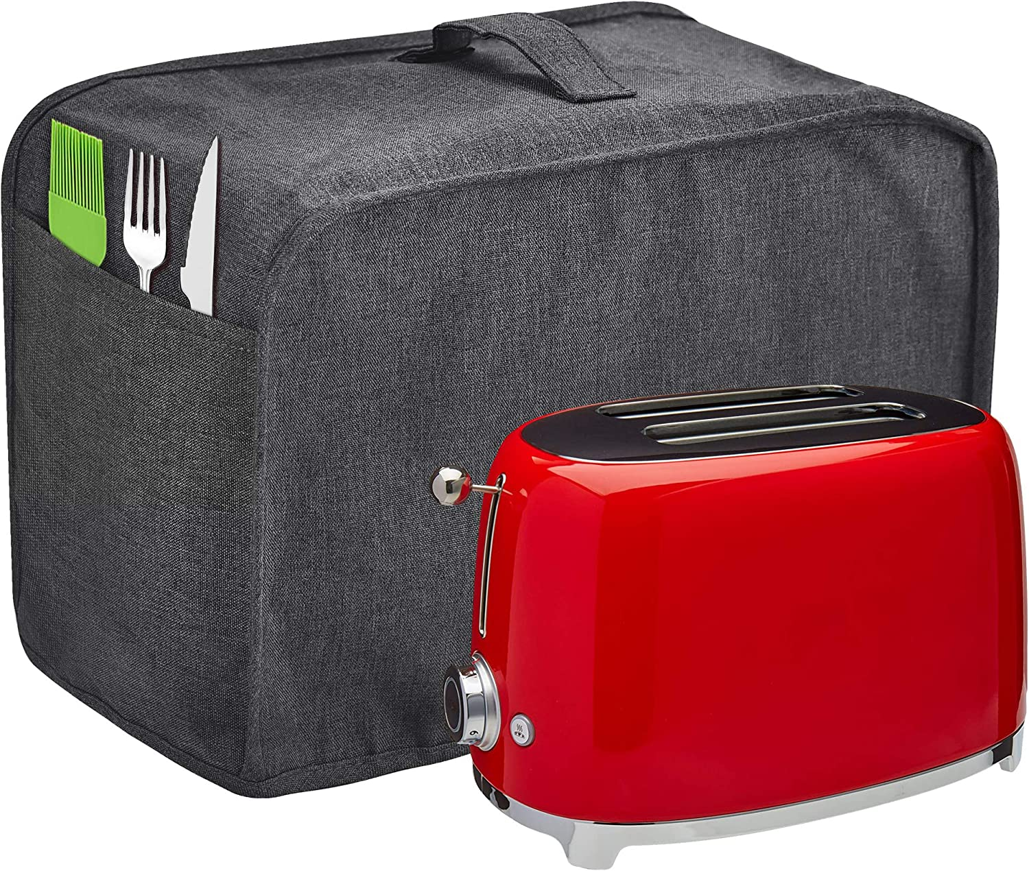 Toaster Cover with 2 Pockets,Can hold Jam Spreader Knife & Toaster Tongs, Toaster Appliance Cover with Top handle,Dust and Fingerprint Protection, Machine Washable (Grey, 2 Slice)