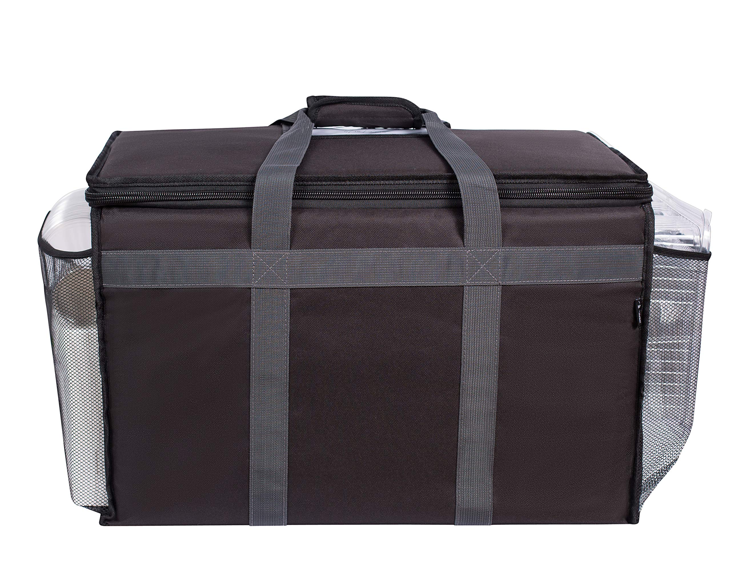 """Insulated Commercial Food Delivery Bag with Side Pockets - Professional Food Warmer Portable For Catering Hot/Cold Meals - Thick Insulation Cooler Bag For Uber Eats, Doordash, Grocery Shopping - 23"""" x"""