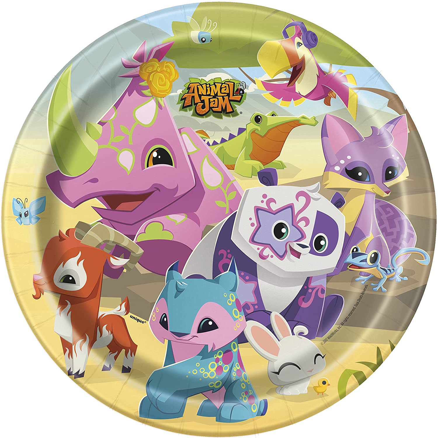 Cups Tablecover Paper Plates Animal Jam Party Supplies Pack for 16 Guests Napkins