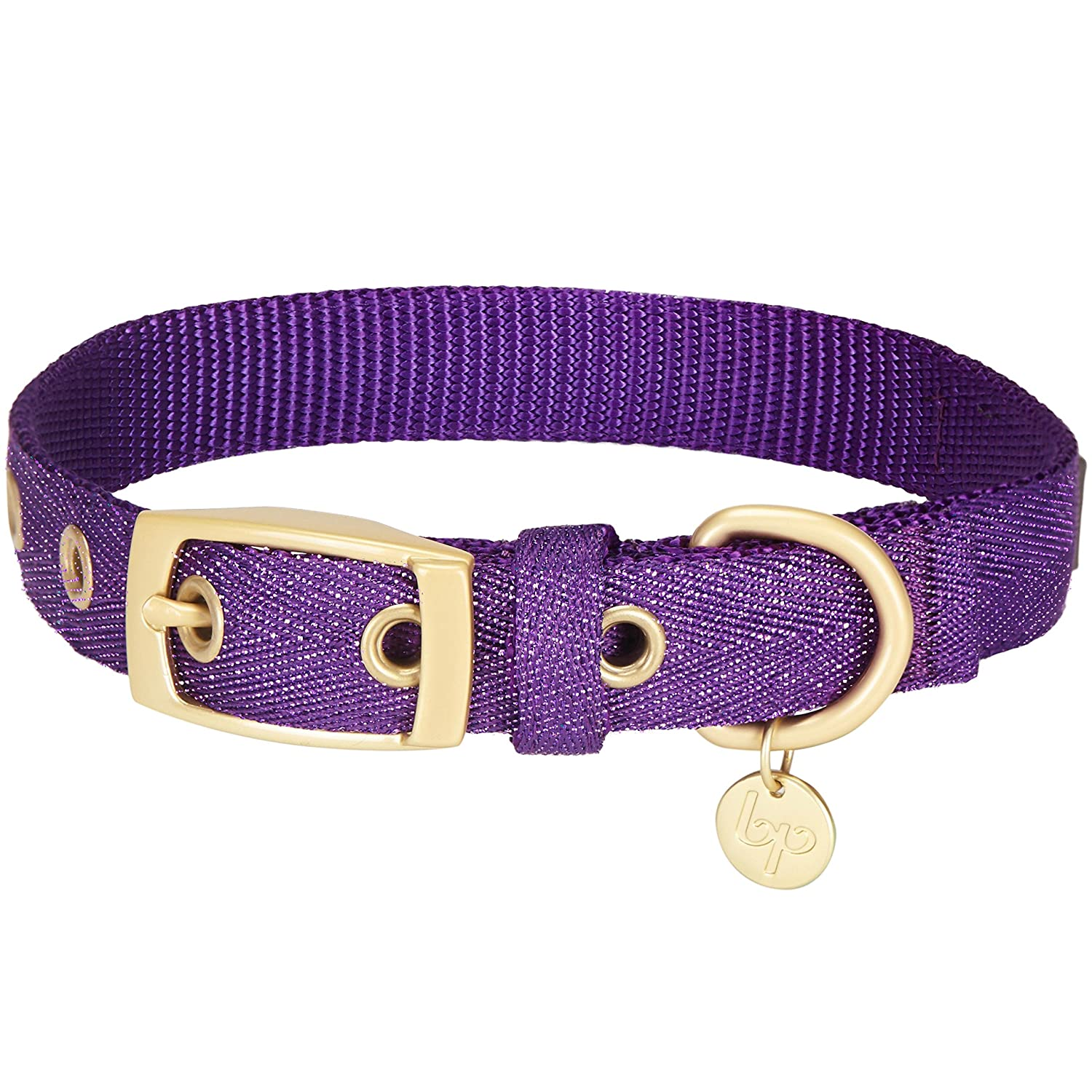 Pack of 1 Dazzling Tinsel Purple (7.5\ Pack of 1 Dazzling Tinsel Purple (7.5\ blueeberry Pet 2019 New 6 colors The Most Coveted Designer Mixed Metallic Thread Dog Collar in Dazzling Tinsel Purple with Metal Buckle, Neck 7.5-10 , Adjustable Collars for Dog