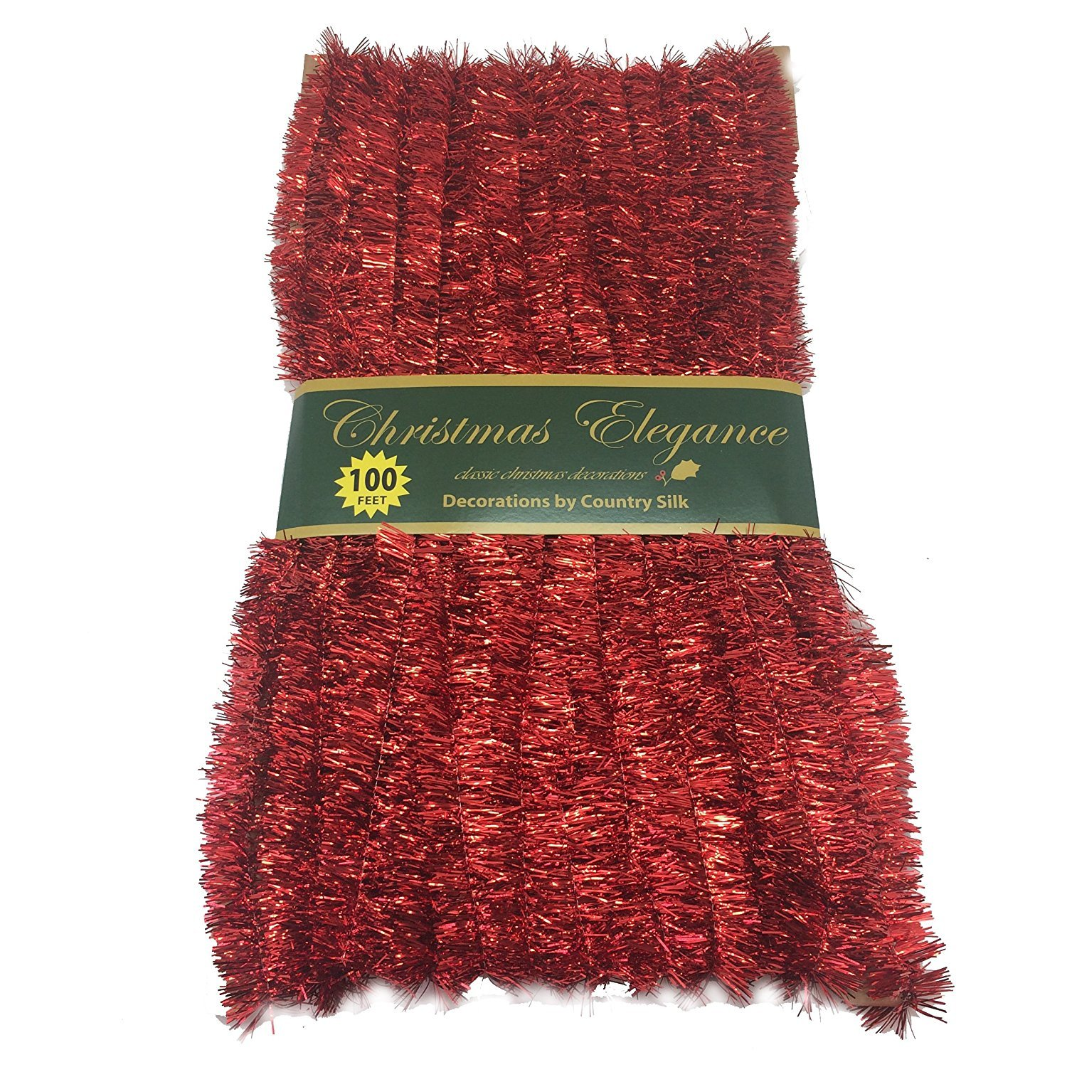100 FT Commercial Length Christmas Garland Classic Christmas Decorations, Red Christmas Elegance