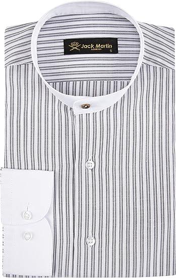 Jack Martin London Camisa para hombre sin cuello y cuello de abuelo de dos tonos a rayas, corte entallado, sin cuello y cuello de abuelo - Camisa de ...
