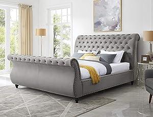 Roundhill Furniture Evora Velvet Upholstered Button Tufted, Queen, Gray