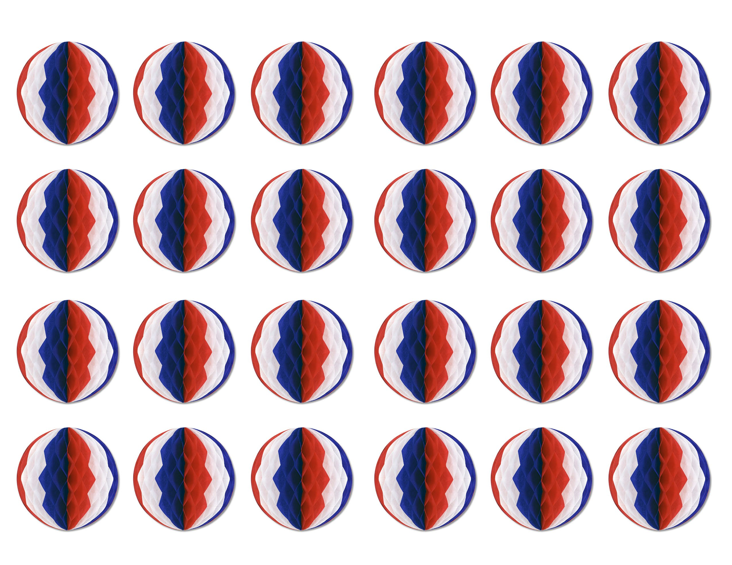 Beistle 55612-RWB 24-Pack Tissue Balls, 12-Inch, Red/White/Blue