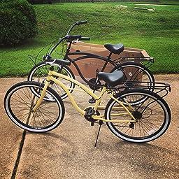 Amazon Com Sixthreezero Around The Block Women S Beach Cruiser Bicycle 7 Speed 26 Inch Mint Green With Black Seat And Grips