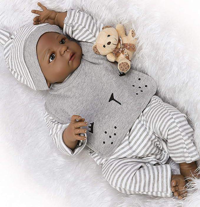 Muñeca De Bebé Reborn De Silicona Para Niños Afroamericanos De 22 Pulgadas Cuerpo Completo Color Negro Realista Linda Muñeca Anatómicamente Correcta Juguete Para Niños Pequeños Toys Games