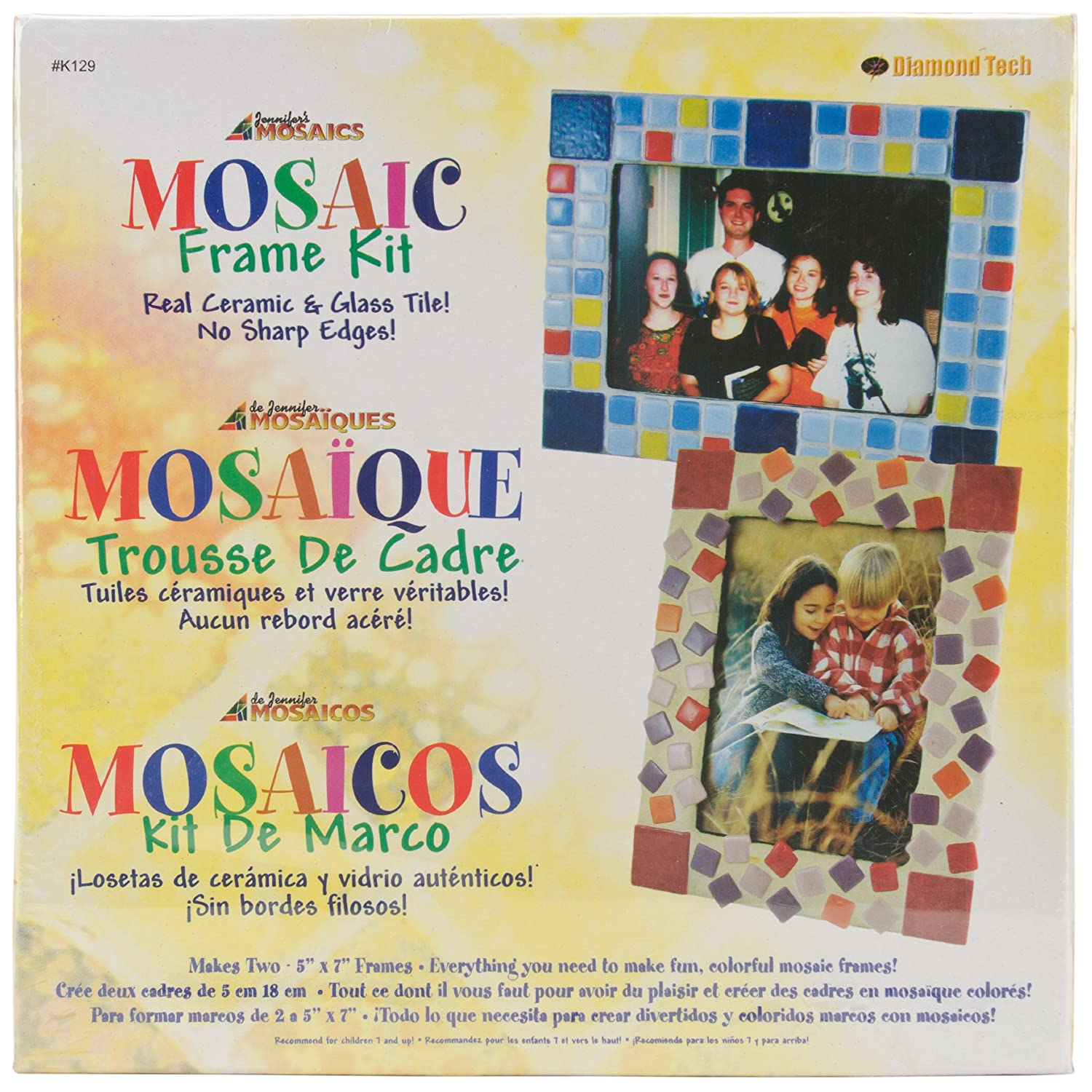 amazoncom jennifers mosaics mosaic picture frame kit makes 2 frames arts crafts sewing - Mosaic Picture Frames