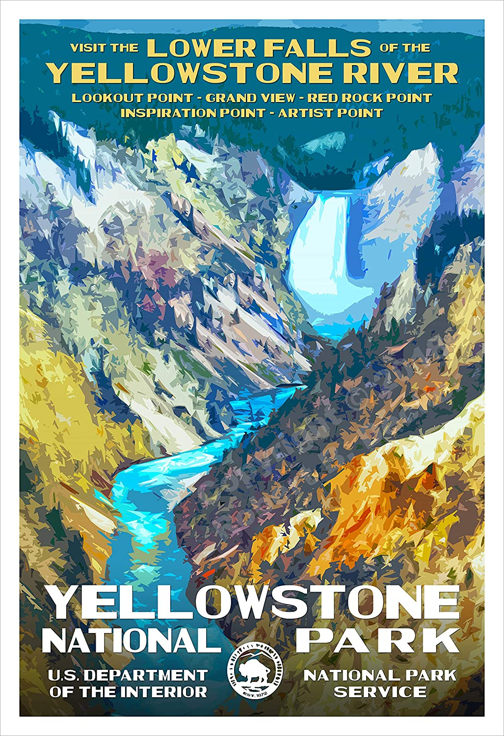 """Yellowstone National Park, Wyoming - Lower Falls Yellowstone River - WPA-Style National Park Poster - 13"""" x 19"""" - Wall Decor for Home and Office - Original Artwork by Robert B. Decker"""