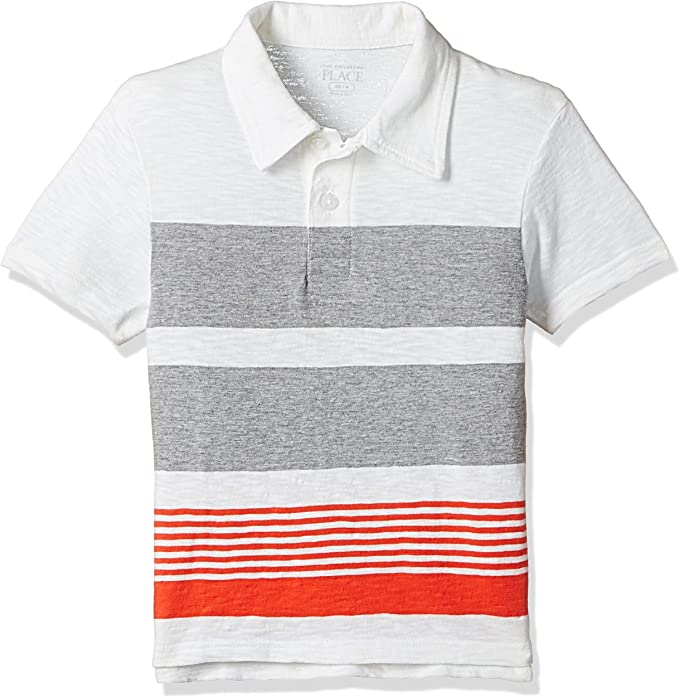 The Childrens Place Big Boys Striped Polo Shirt, Blue Atoll, XS ...