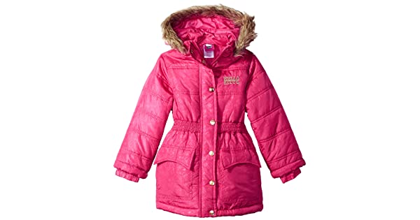 a95d6763f Hello Kitty Big Girls All Over Printed Long Puffer with Faux Fur Trim Hood,  Pink, 12