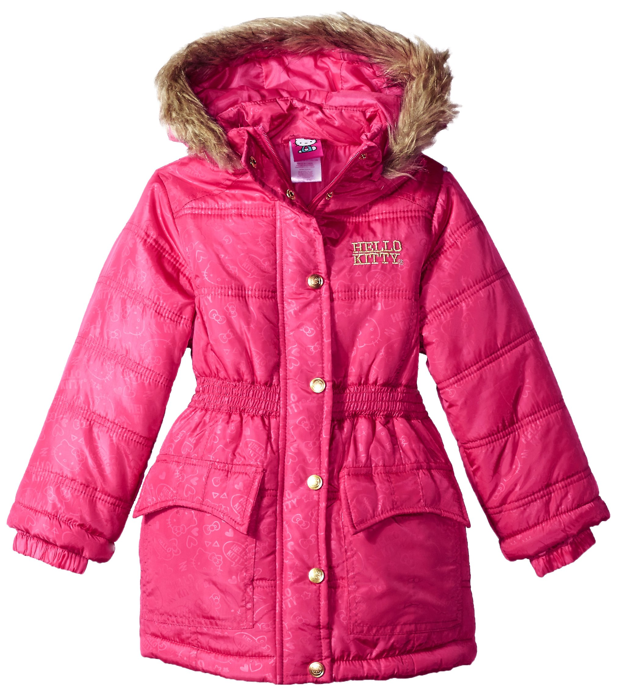 2614103fa Galleon - Hello Kitty Big Girls All Over Printed Long Puffer With Faux Fur  Trim Hood, Pink, 8