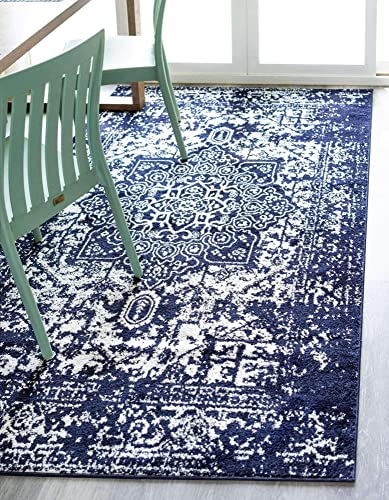 Unique Loom Richmond Collection Medallion Overdyed Oriental Transitional Navy Blue Area Rug 10' 0 x 14' 0