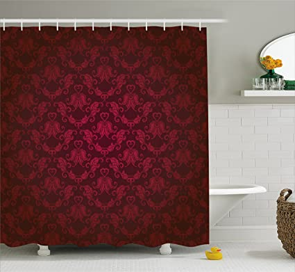 Ambesonne Maroon Shower Curtain By Victorian Damask Pattern With Vignette Effect Royal Revival Ancient Rich