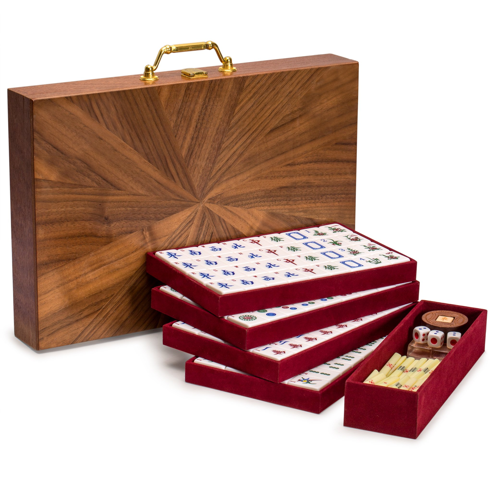 Yellow Mountain Imports Chinese Mahjong Set, Champagne Gold - with Wood Veneer Case - Medium Size Tiles: 1.3 x 1 x 0.7 inches (34mm x 25mm x 19mm) - for Chinese Style Gameplay Only by Yellow Mountain Imports (Image #4)