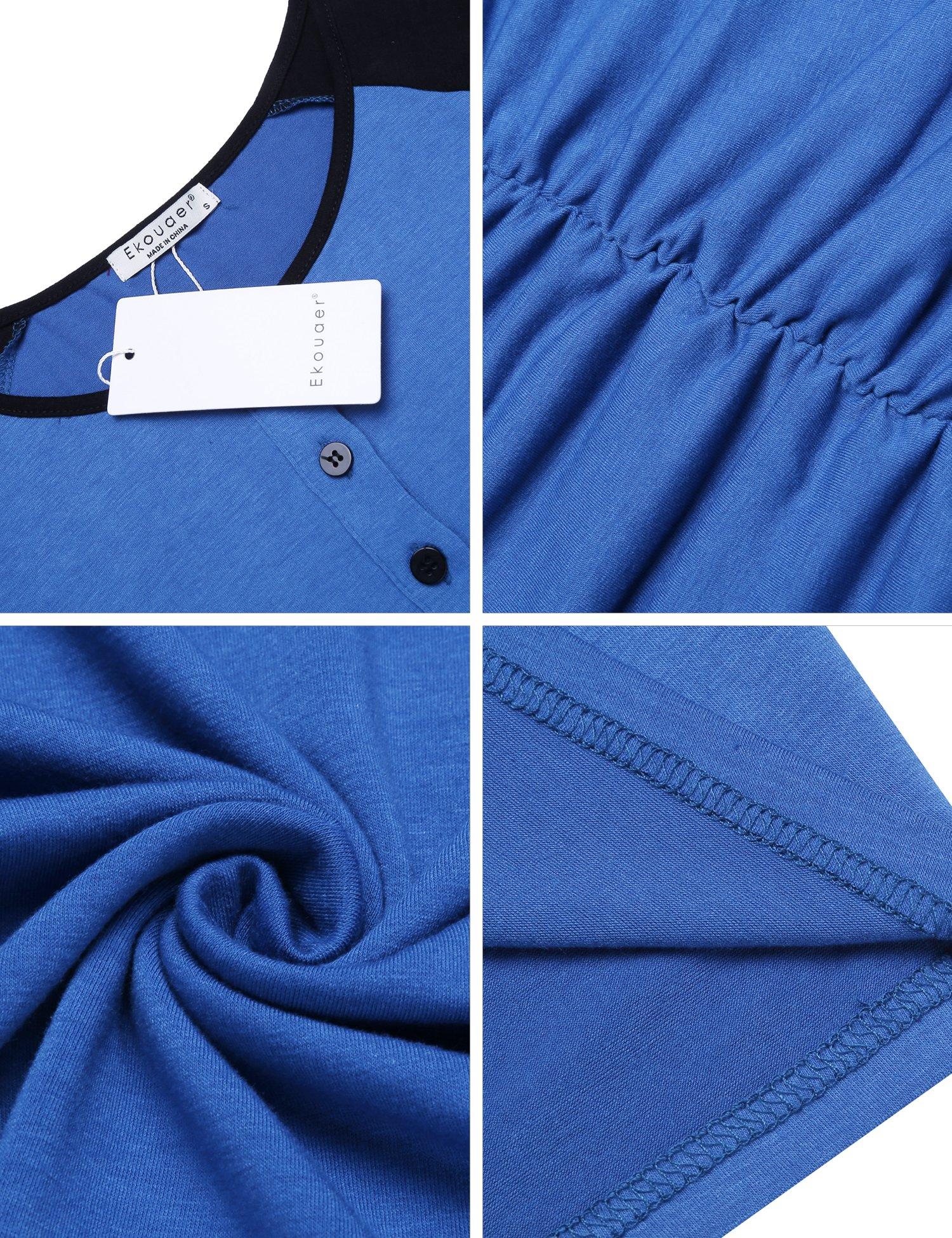 Ekouaer Women's Ruched Maternity Bodycon Dress Causual Short Sleeve Wrap Dresses Blue S by Ekouaer (Image #6)